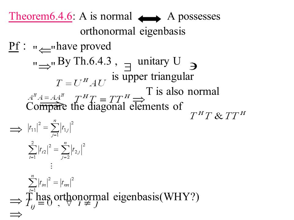 Theorem6.4.6: A is normal A possesses