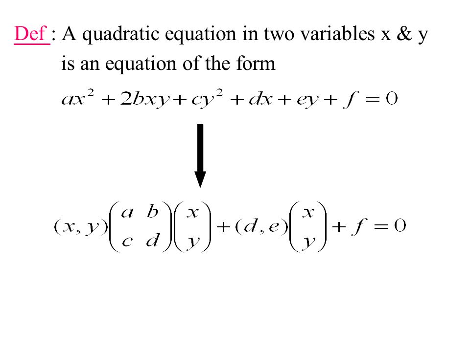 Def : A quadratic equation in two variables x & y