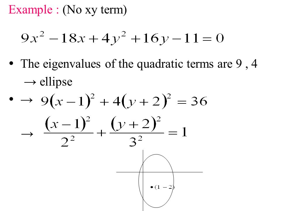 Example : (No xy term)  The eigenvalues of the quadratic terms are 9 , 4 → ellipse  → →