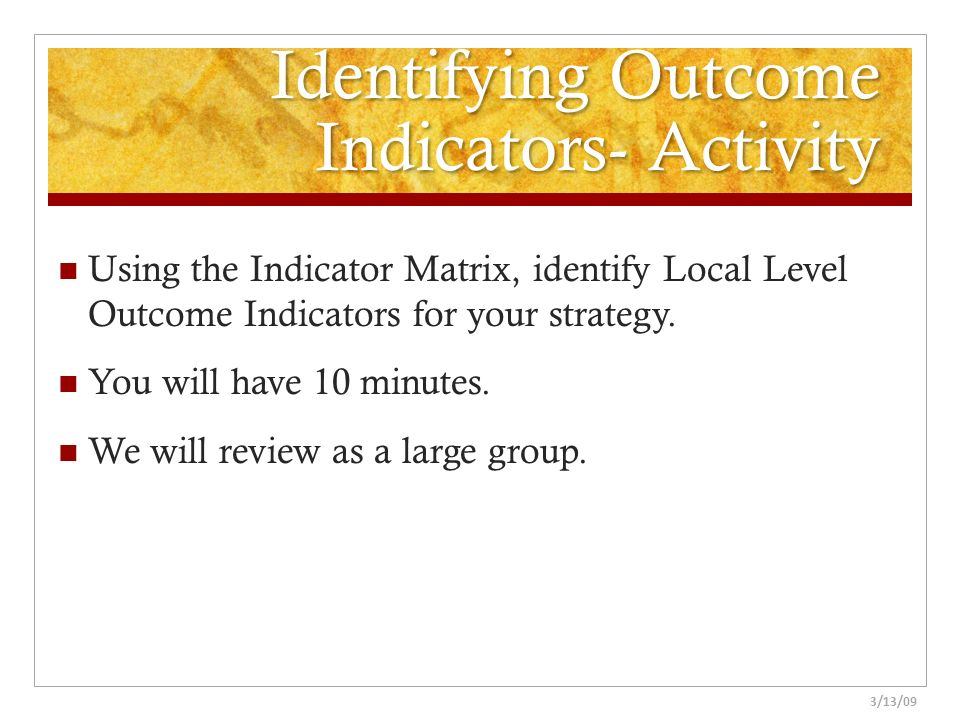 Identifying Outcome Indicators- Activity