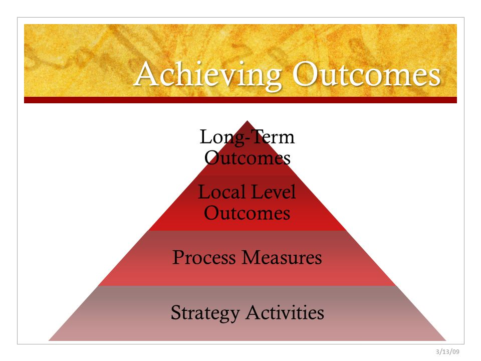 Achieving Outcomes Natalie 3/13/09 Long-Term Outcomes