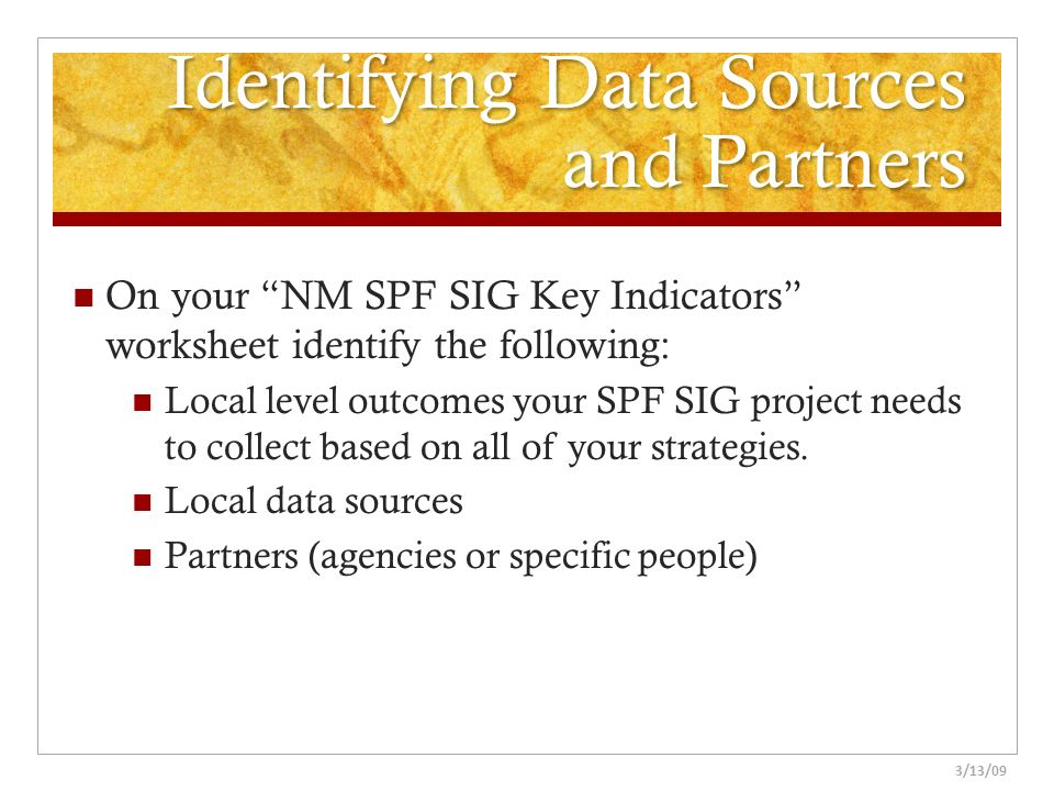 Identifying Data Sources and Partners