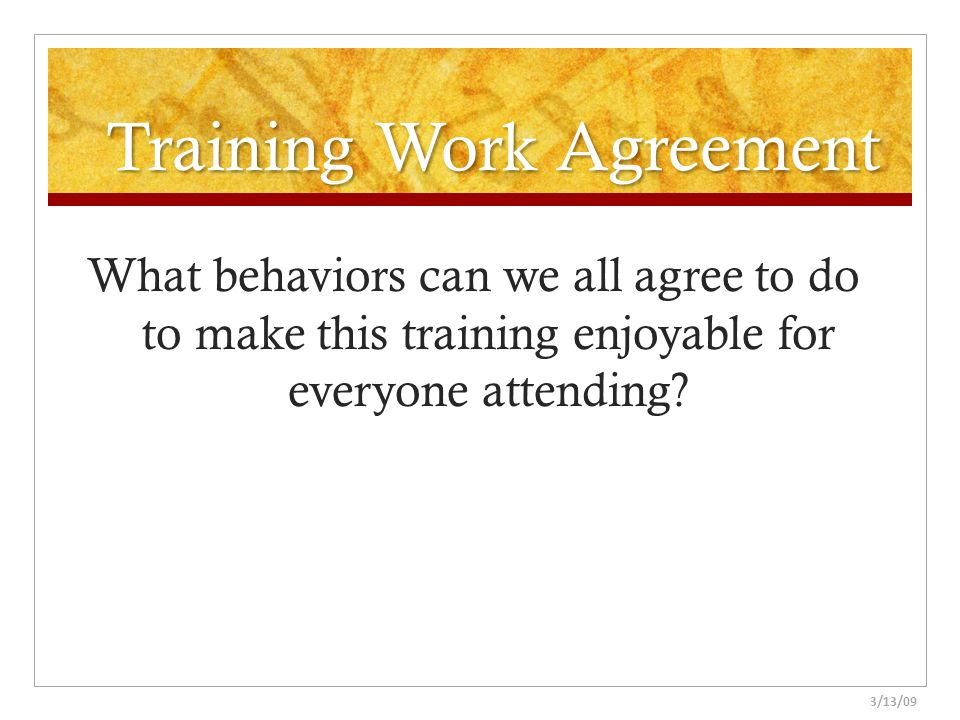Training Work Agreement
