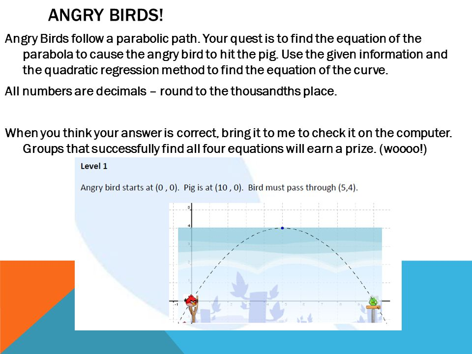 angry birds the parabolic edition answers
