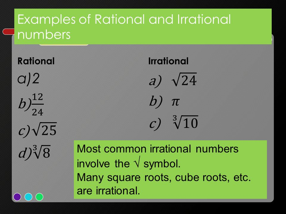 Examples of Rational and Irrational numbers