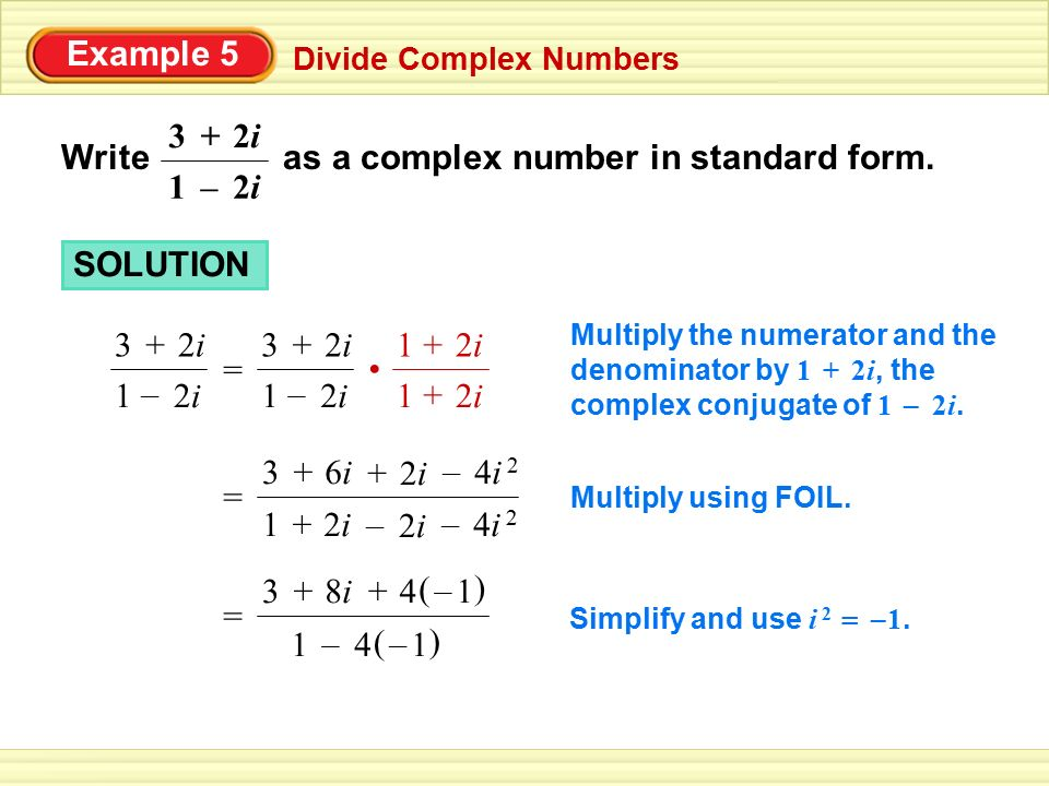 Write as a complex number in standard form. 2i –