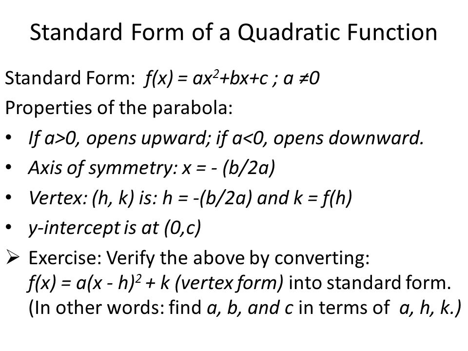 Quadratic Functions And Transformations Ppt Download