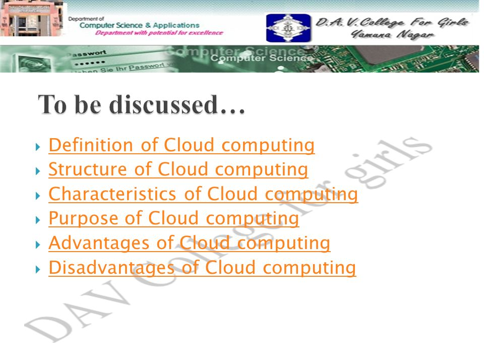 To be discussed… Definition of Cloud computing