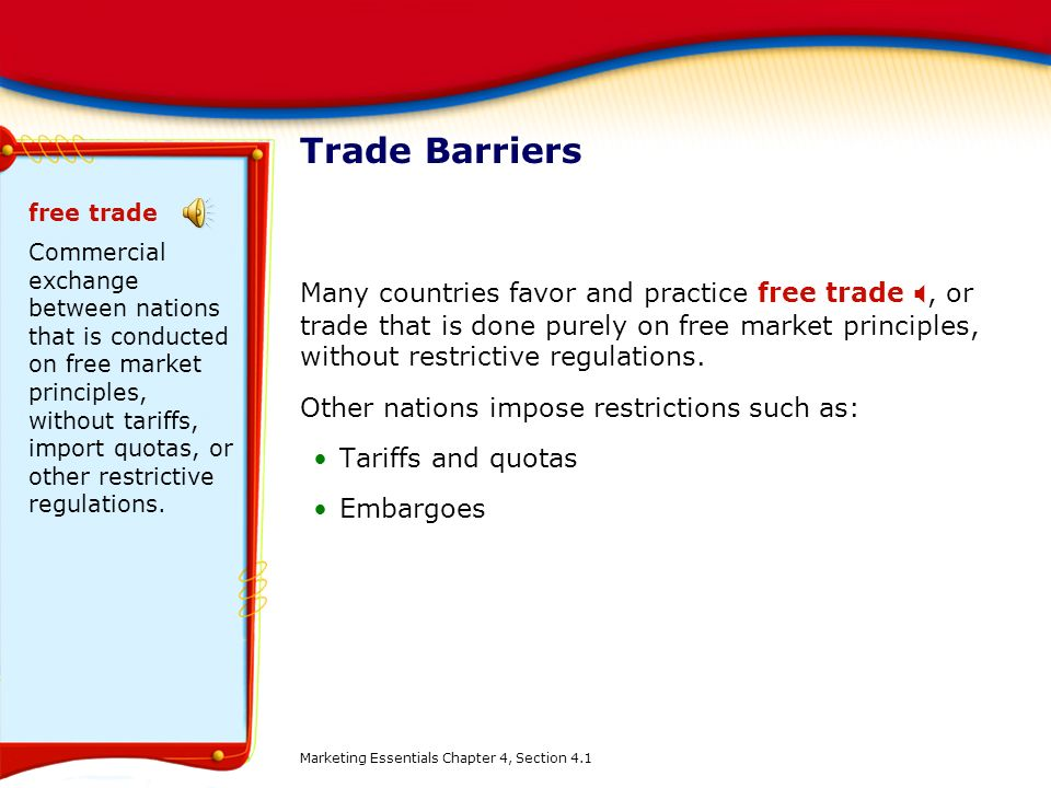 Trade Barriers free trade.