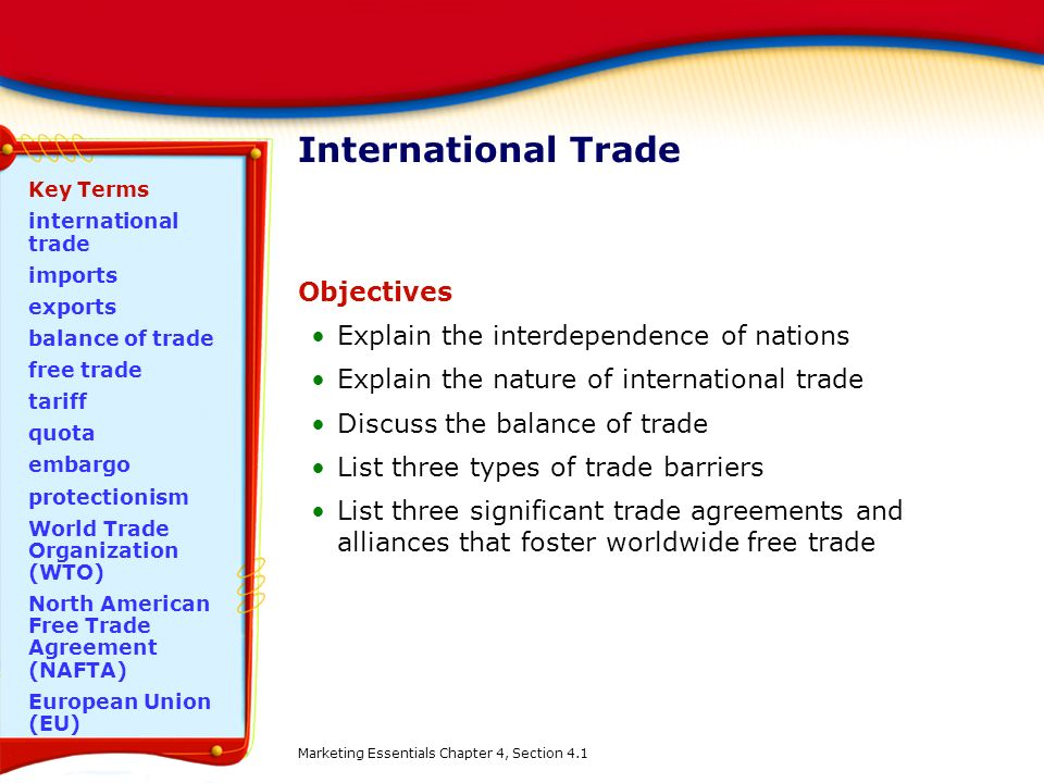 International Trade Objectives Explain the interdependence of nations