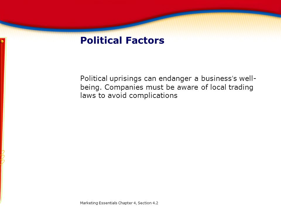 Political Factors Political uprisings can endanger a business's well-being. Companies must be aware of local trading laws to avoid complications.