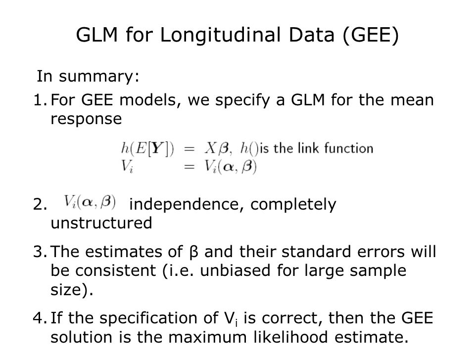 Lecture 9: Marginal Logistic Regression Model and GEE
