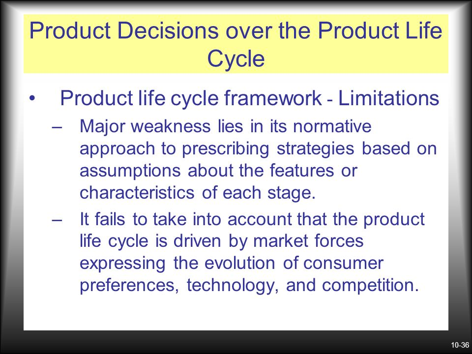 weakness of product life cycle