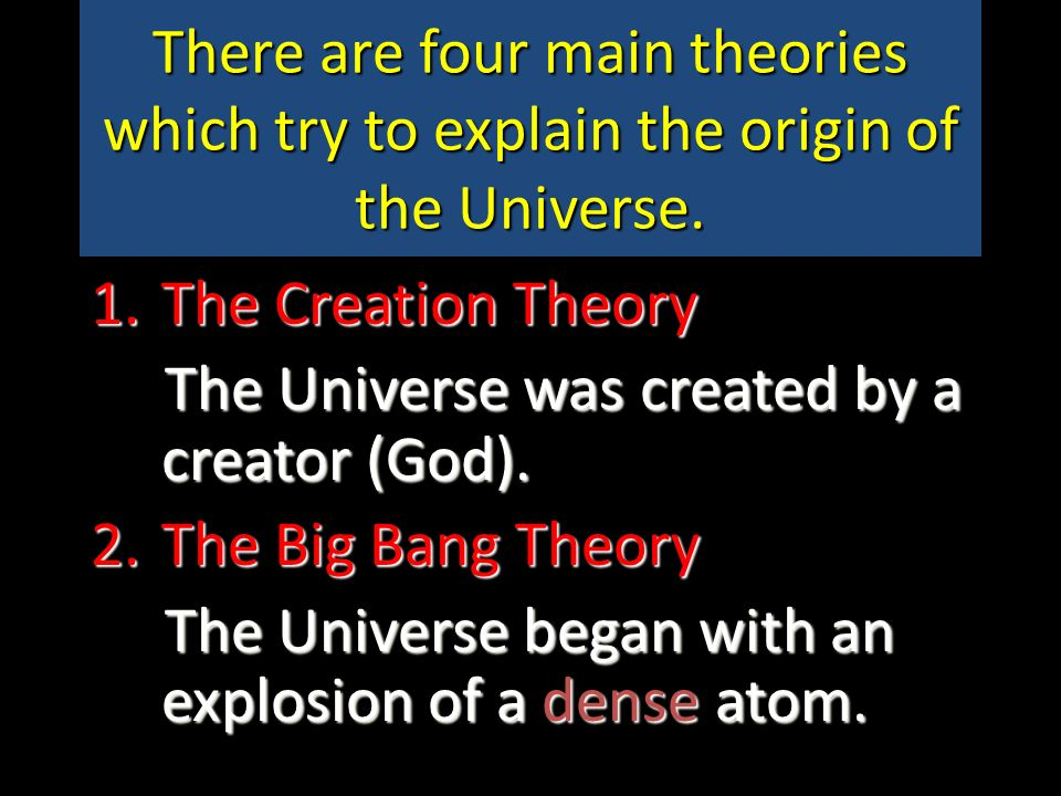theories origin universe The origins of the universe: quantum origins m-theory, the theory formerly known as strings the standard model  we can obtain a new theory that describes both the forces and the matter which make up the universe this is the theory of superstrings there are three different superstring theories which make sense, ie display no.