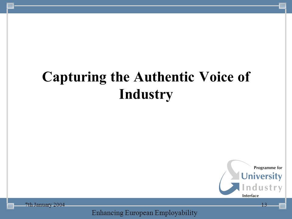 Capturing the Authentic Voice of Industry