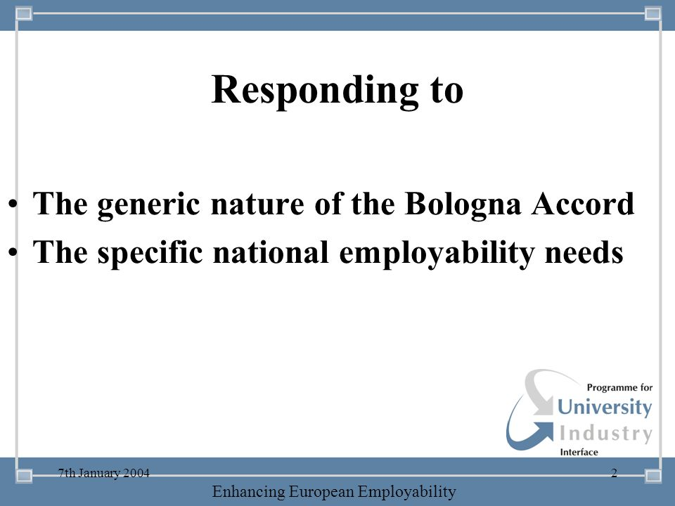 Responding to The generic nature of the Bologna Accord