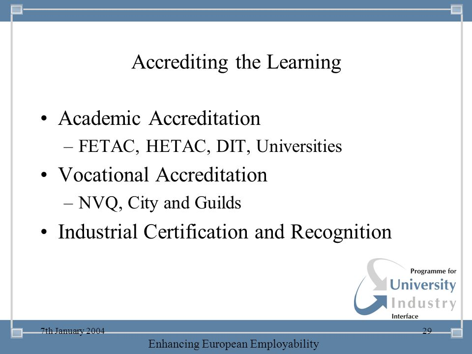 Accrediting the Learning