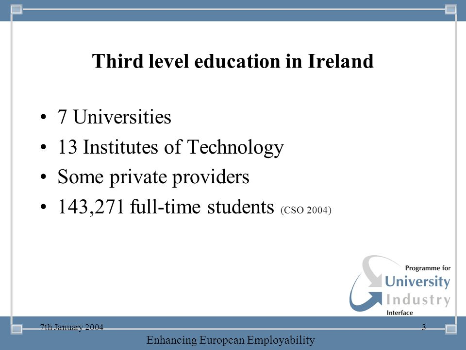 Third level education in Ireland