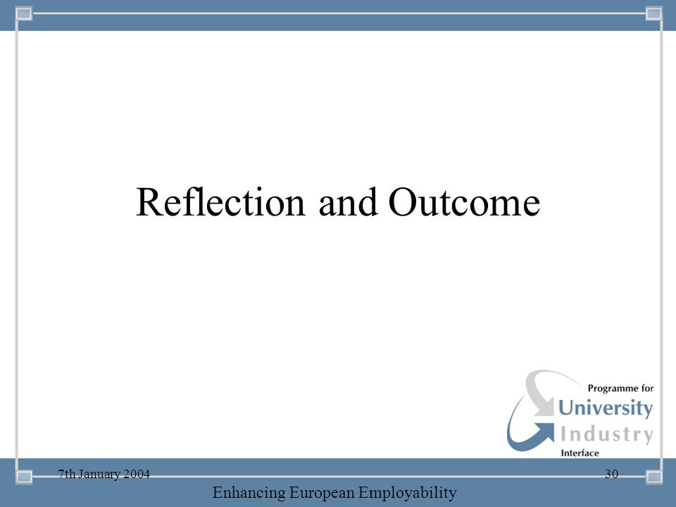Reflection and Outcome