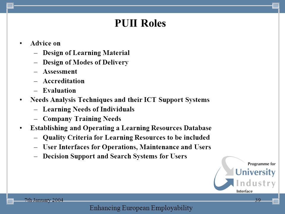 PUII Roles Advice on Design of Learning Material