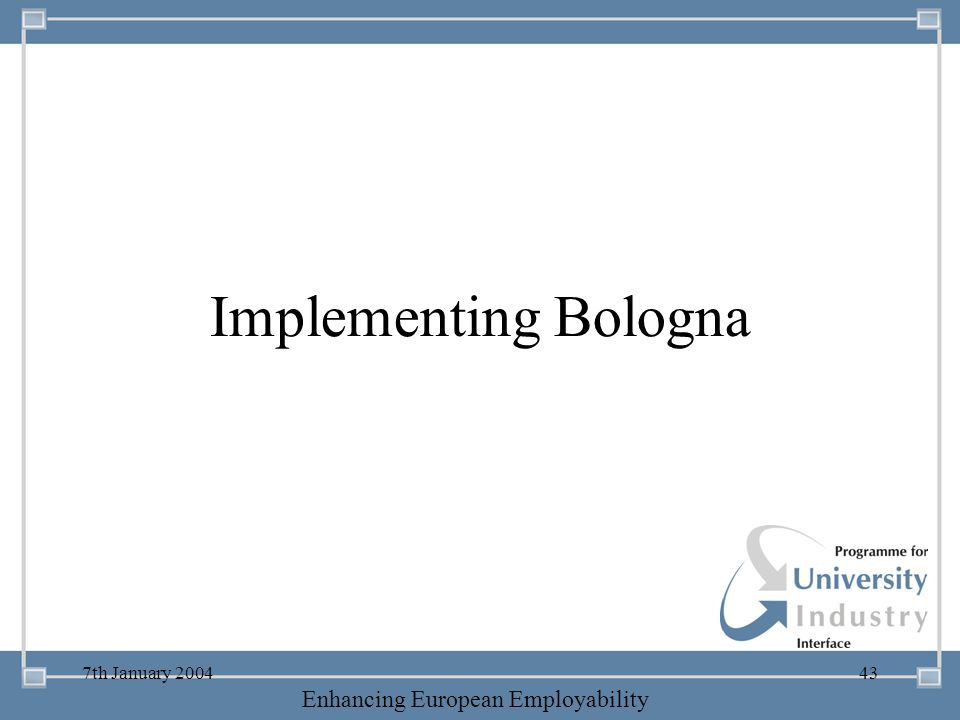 Implementing Bologna 7th January 2004