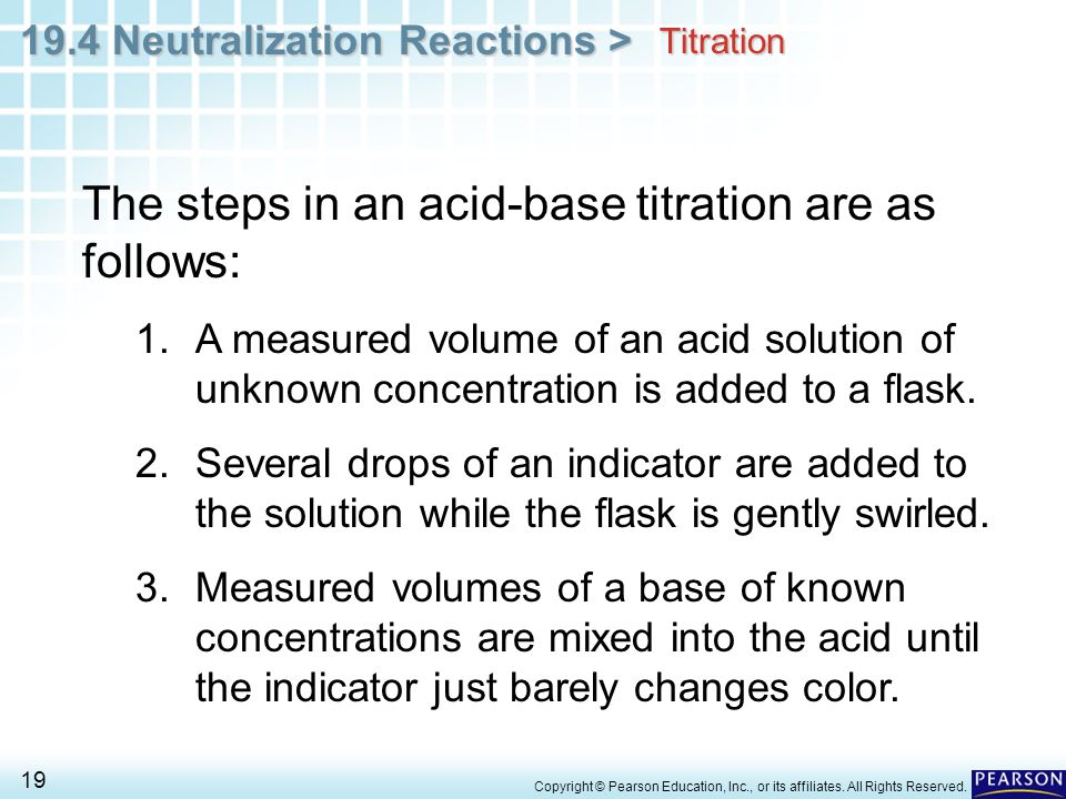 The steps in an acid-base titration are as follows:
