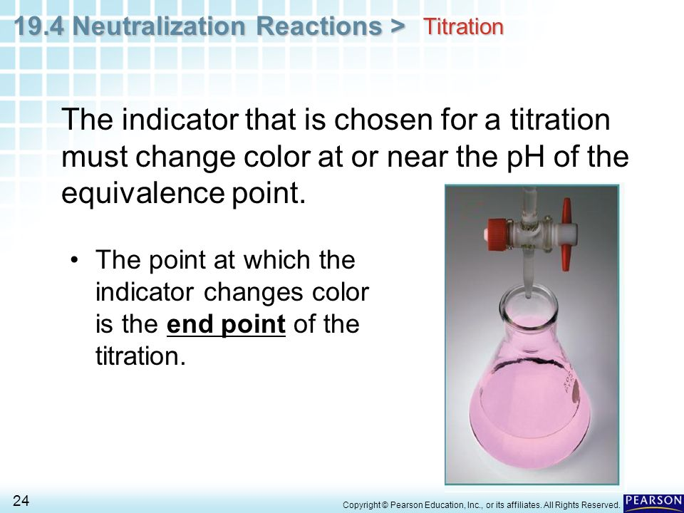 Titration The indicator that is chosen for a titration must change color at or near the pH of the equivalence point.