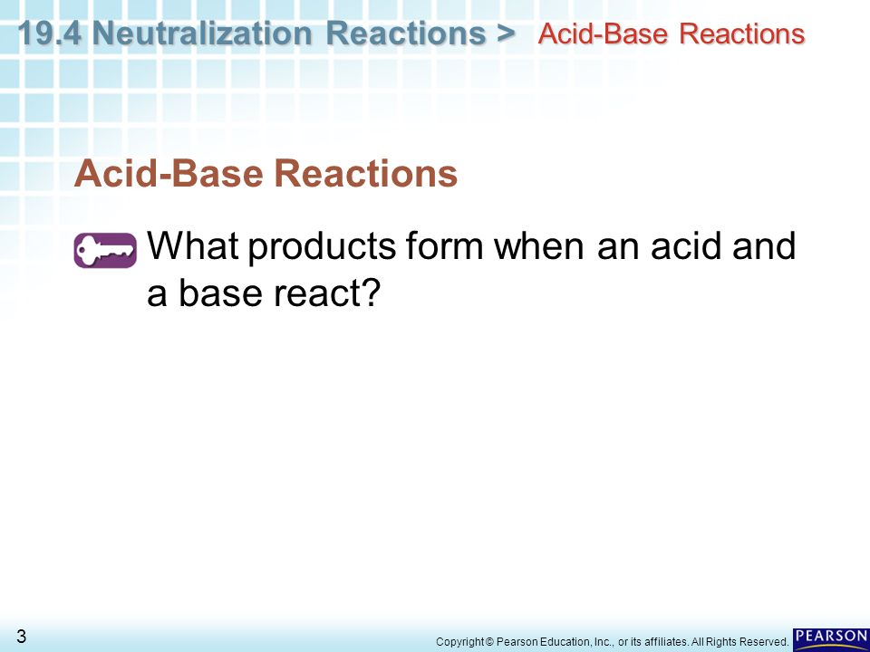 What products form when an acid and a base react