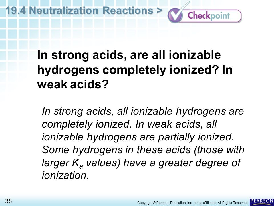 In strong acids, are all ionizable hydrogens completely ionized