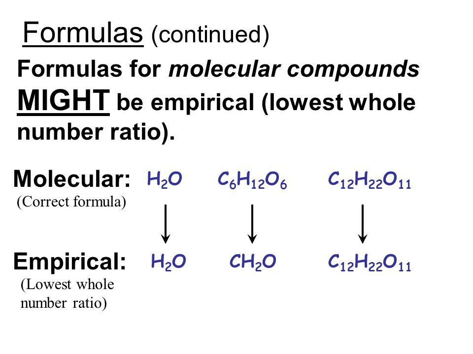 Formulas (continued) Formulas for molecular compounds MIGHT be empirical (lowest whole number ratio).