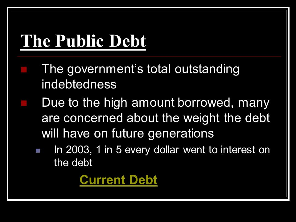 The Public Debt The government's total outstanding indebtedness