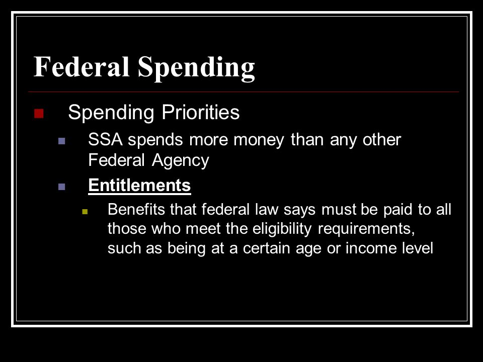 Federal Spending Spending Priorities