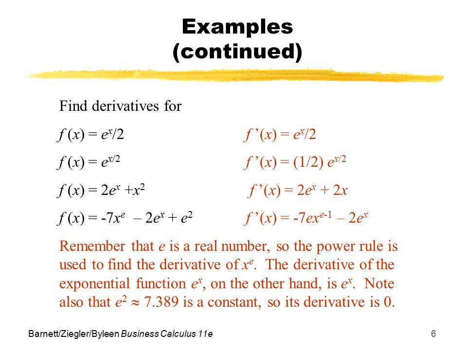 Objectives for Section 11 2 Derivatives of Exp/Log Functions