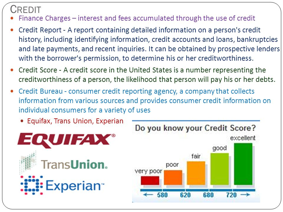 Credit Finance Charges – interest and fees accumulated through the use of credit.