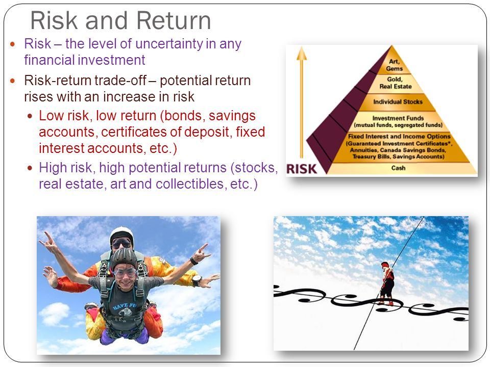 Risk and Return Risk – the level of uncertainty in any financial investment.