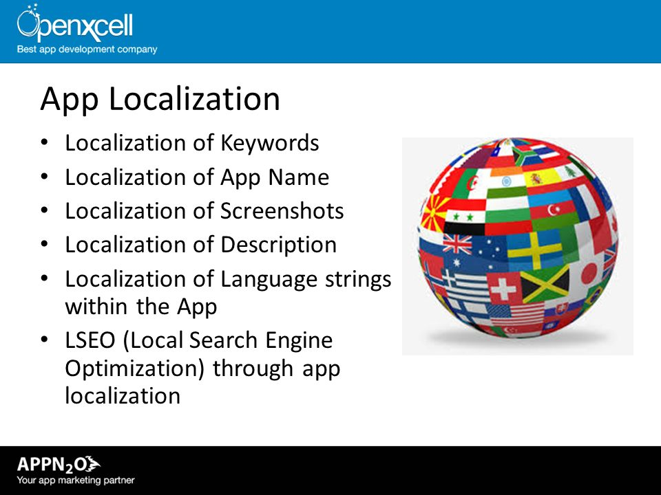 App Localization Localization of Keywords Localization of App Name