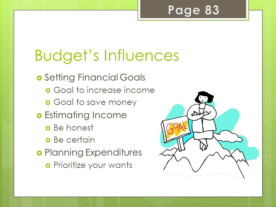 Budget's Influences Page 83 Setting Financial Goals Estimating Income