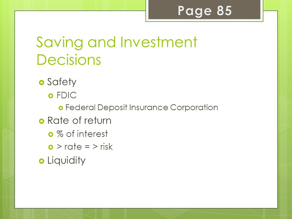 Saving and Investment Decisions