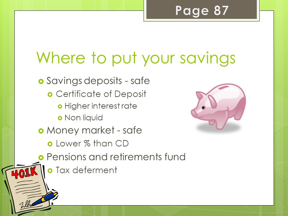 Where to put your savings