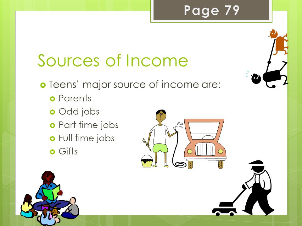 Sources of Income Page 79 Teens' major source of income are: Parents