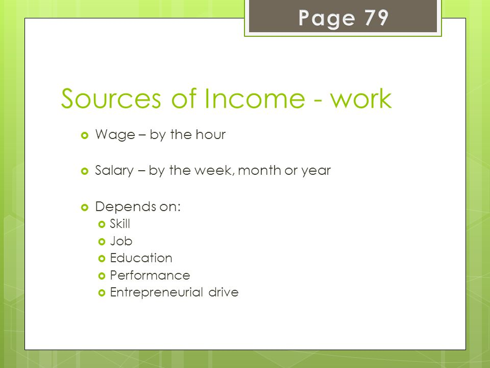 Sources of Income - work