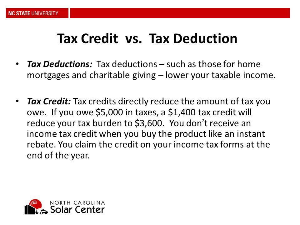 13 Tax Credit Vs