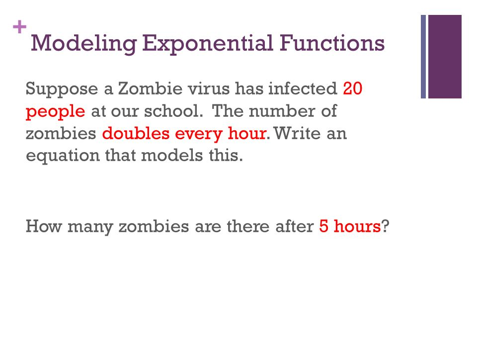 Chapter 8 Exponential And Logarithmic Functions Ppt Video Online. Modeling Exponential Functions. Worksheet. Zombie Exponential Growth Worksheet At Mspartners.co