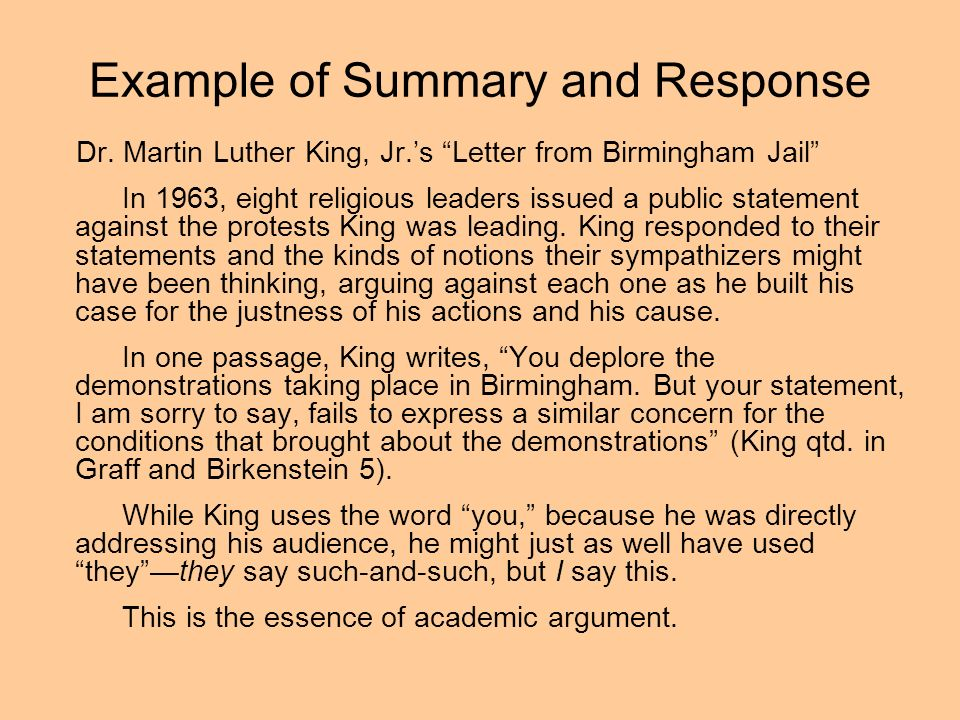 personal response of letter from birmingham jail Question: purpose of letter from birmingham jail  civil rights martin luther king jr was one of the most prolific, courageous and definitive writers and speakers in history.