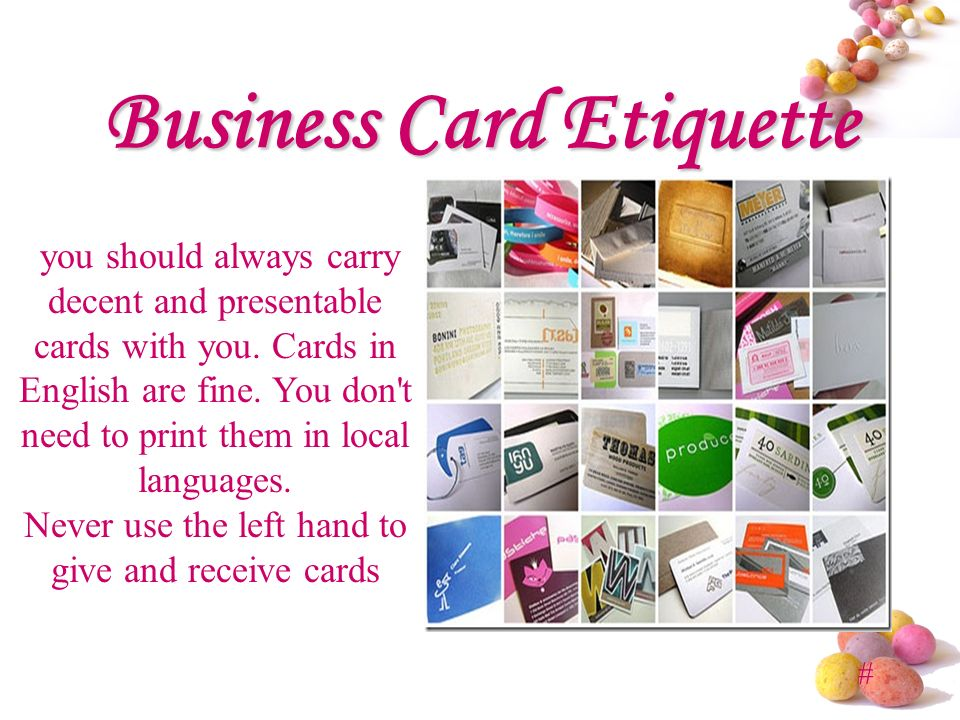 Business etiquette presented by mba ppt video online download business card etiquette reheart Gallery