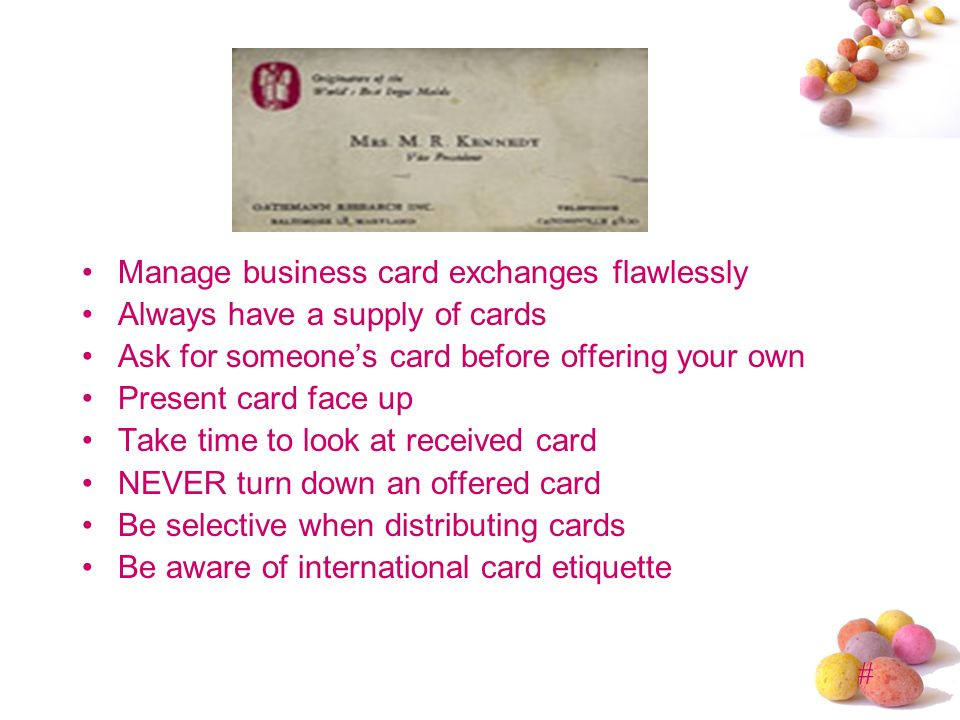 Business etiquette presented by mba ppt video online download manage business card exchanges flawlessly reheart Gallery