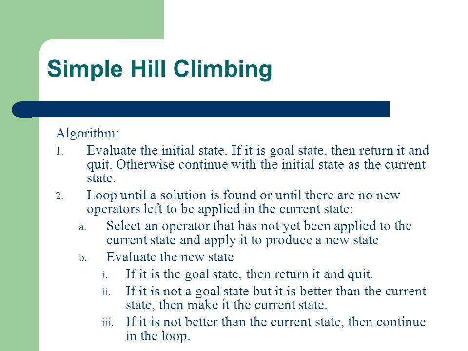 Hill climbing.