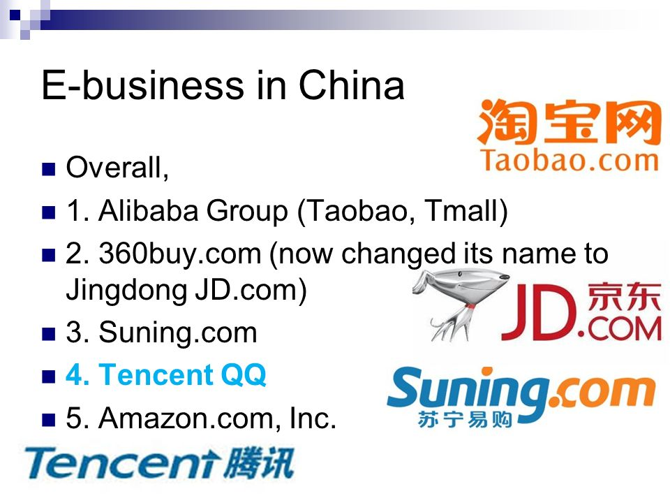 Tencent QQ Wechat Presentation Eva Lau Florence Sit - ppt download E-business in China Overall, 1. Alibaba Group (Taobao, Tmall)
