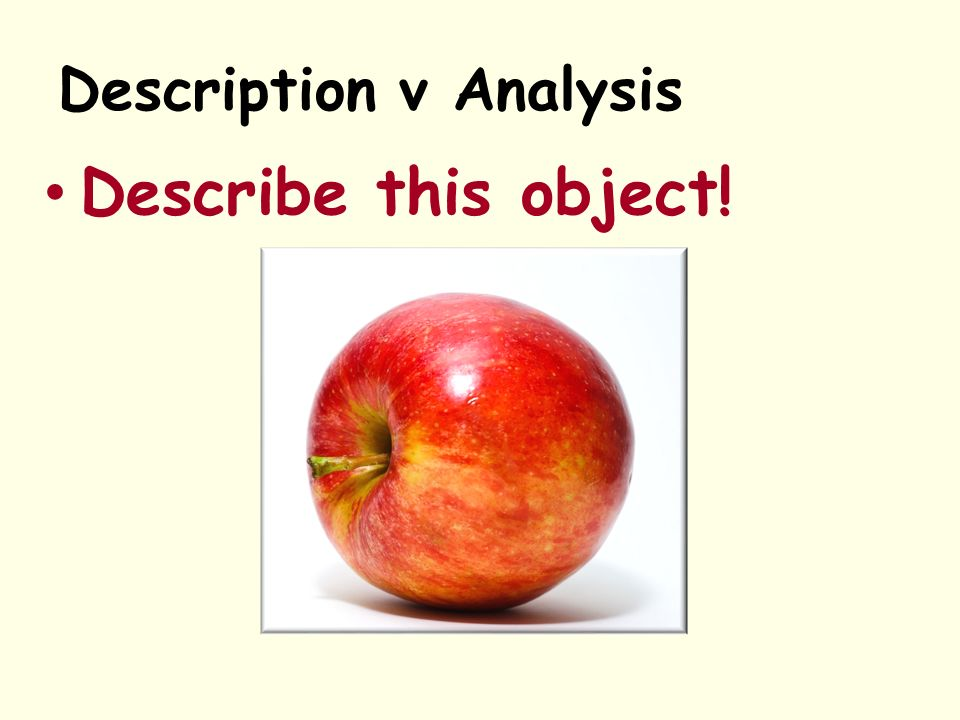 Description v Analysis