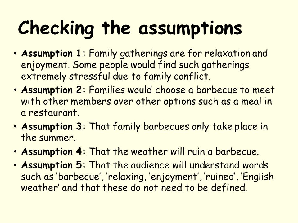 Checking the assumptions